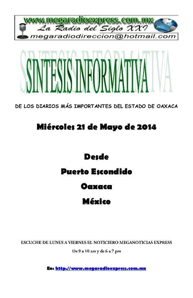 Sintesis informativa 21 de mayo 2014