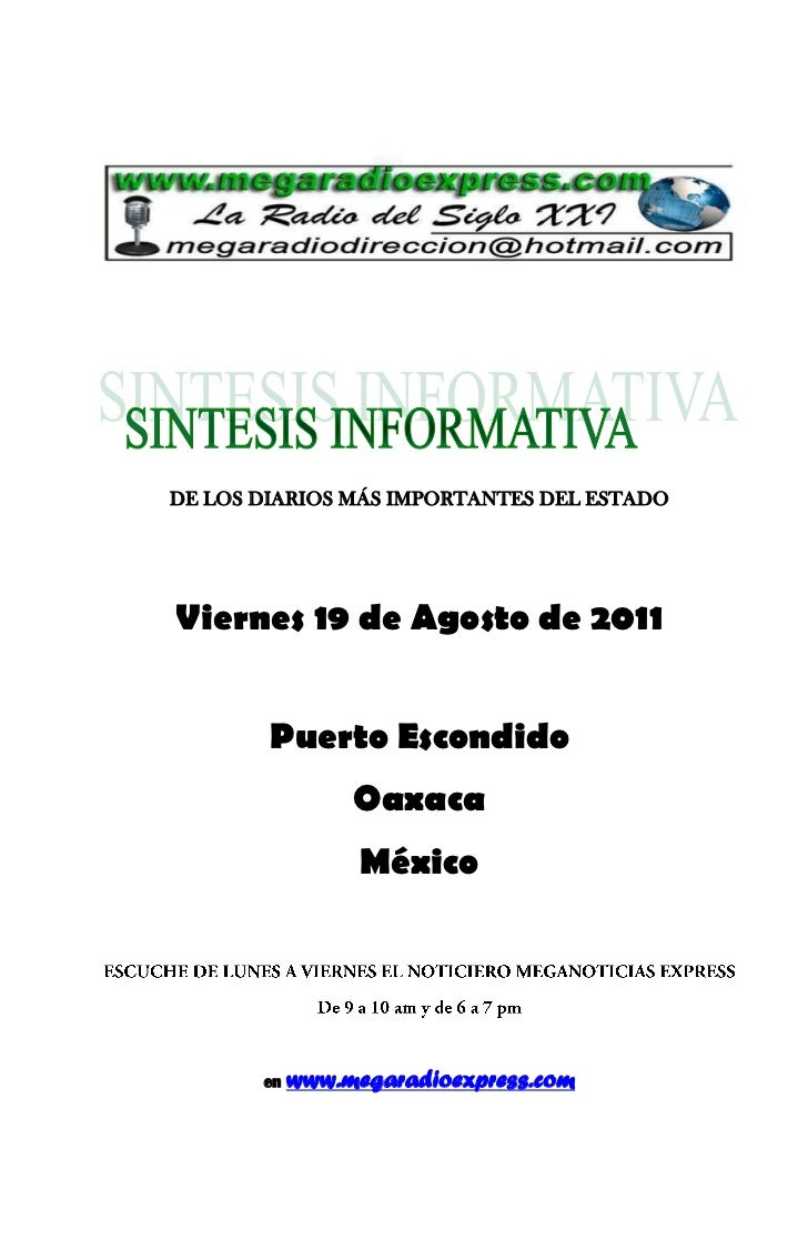 Sintesis informativa agosto 19 2011