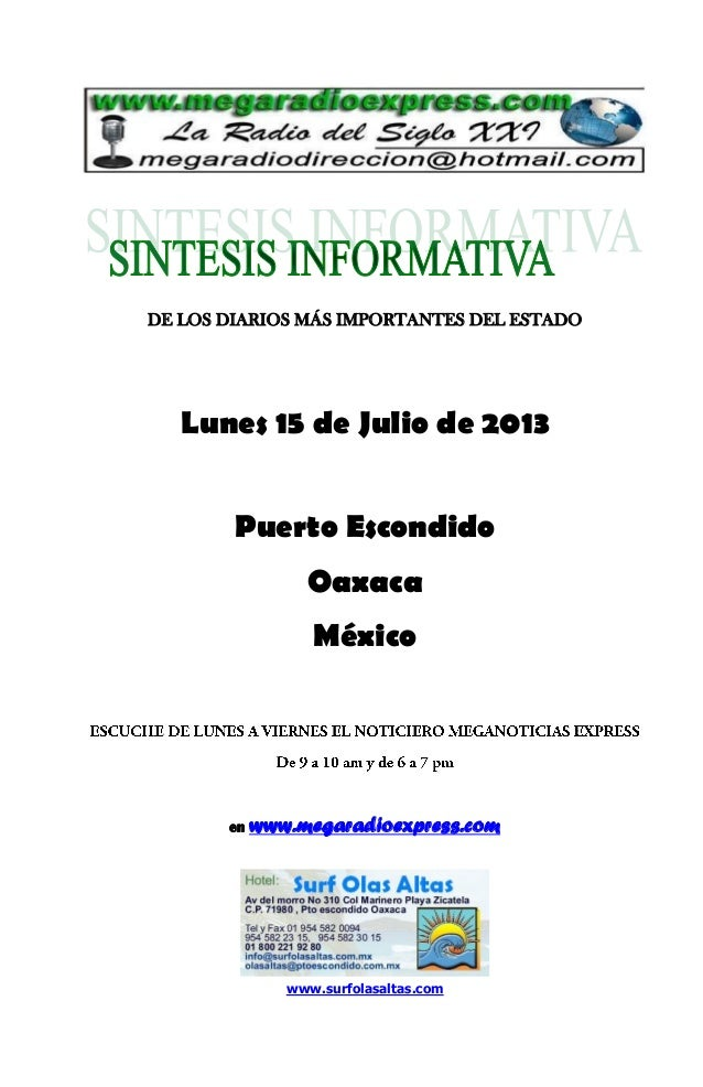 Sintesis informativa julio 15 2013