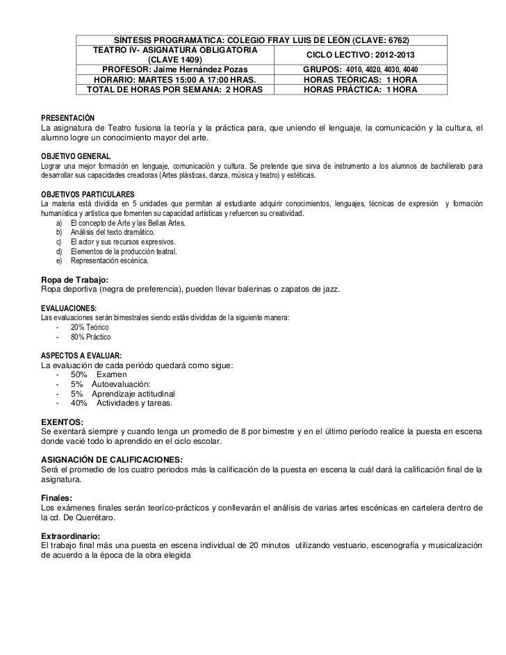 Sintesis Programática Teatro 4to (12-13)