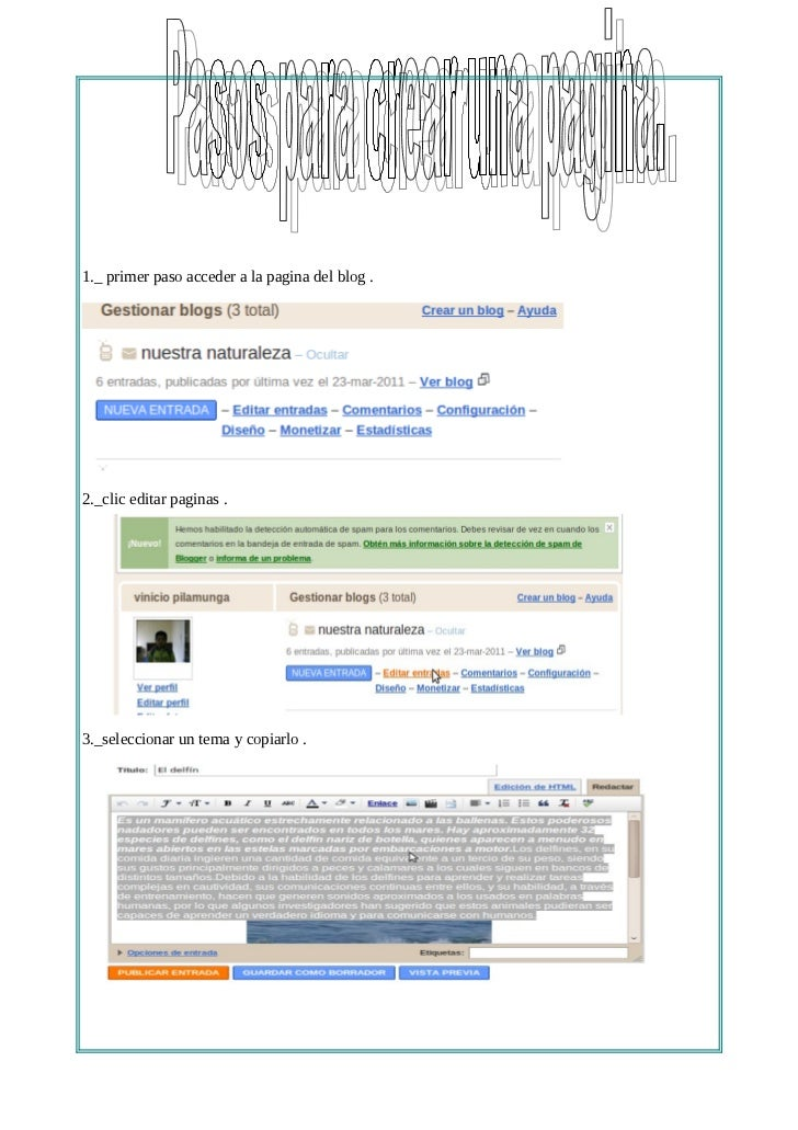 pasos para crear una pagina