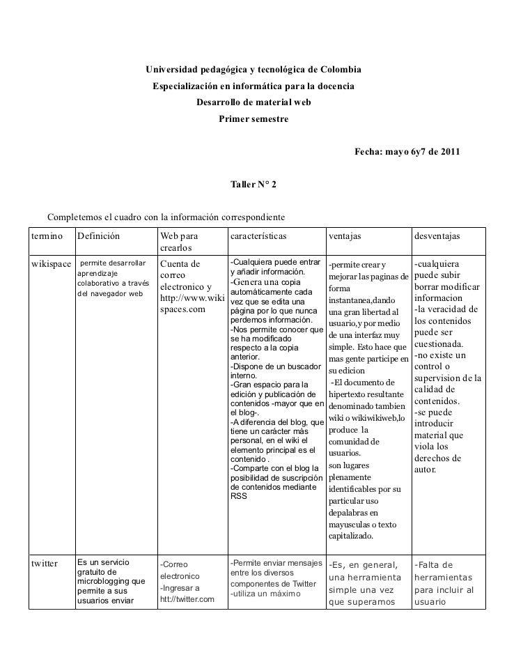 Universidad pedagógica y tecnológica de Colombia                                    Especialización en informática para la...