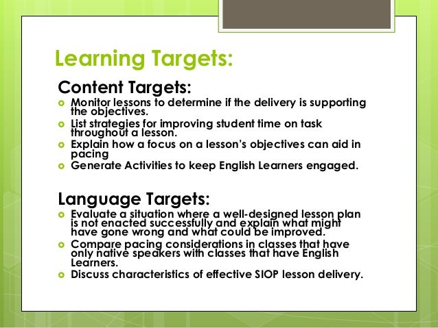 siop model features for lesson delivery