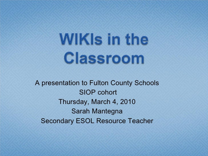 Siop Wiki Presentation