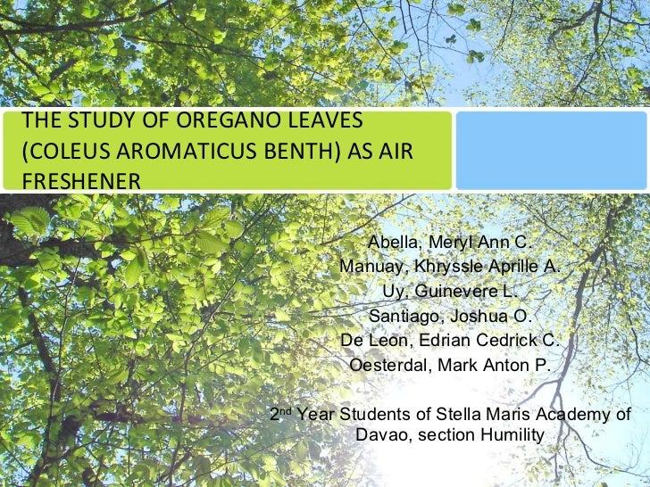 THE STUDY OF OREGANO LEAVES (COLEUS AROMATICUS BENTH) AS AIR FRESHENER Abella, Meryl Ann C. Manuay, Khryssle Aprille A. Uy...