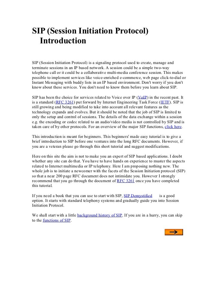 SIP (Session Initiation Protocol)  IntroductionSIP (Session Initiation Protocol) is a signaling protocol used to create, m...