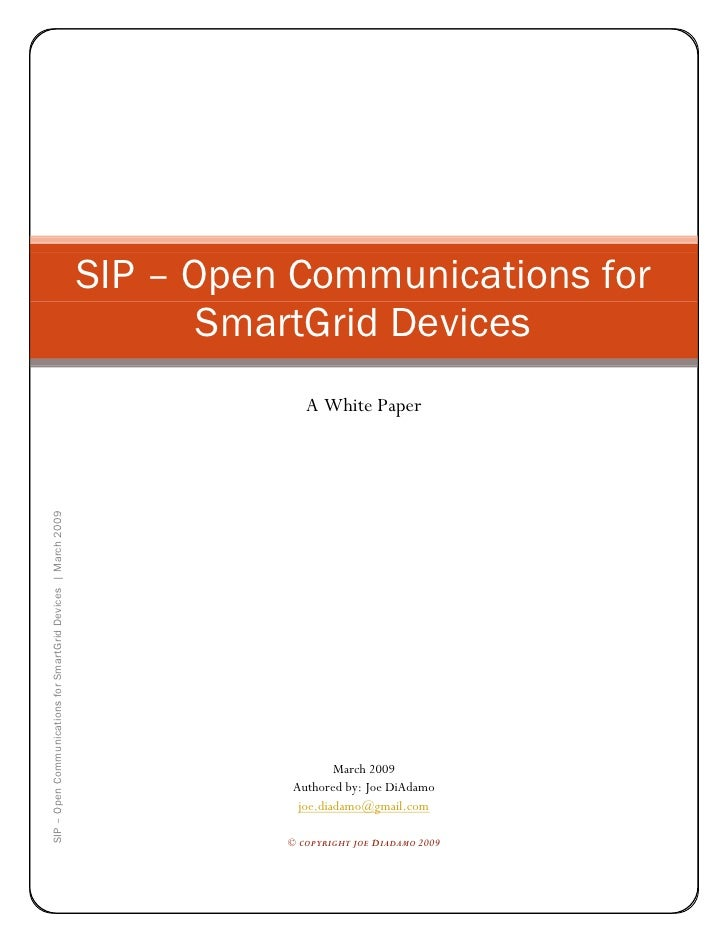 SIP - Open Communications For Smart Grid Devices