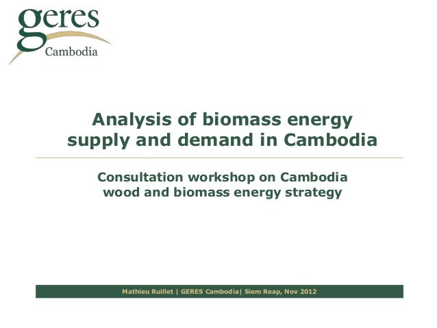 Analysis of biomass energysupply and demand in Cambodia  Consultation workshop on Cambodia   wood and biomass energy strat...