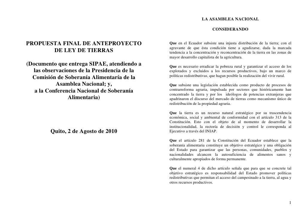 LA ASAMBLEA NACIONAL                                                                         CONSIDERANDOPROPUESTA FINAL D...