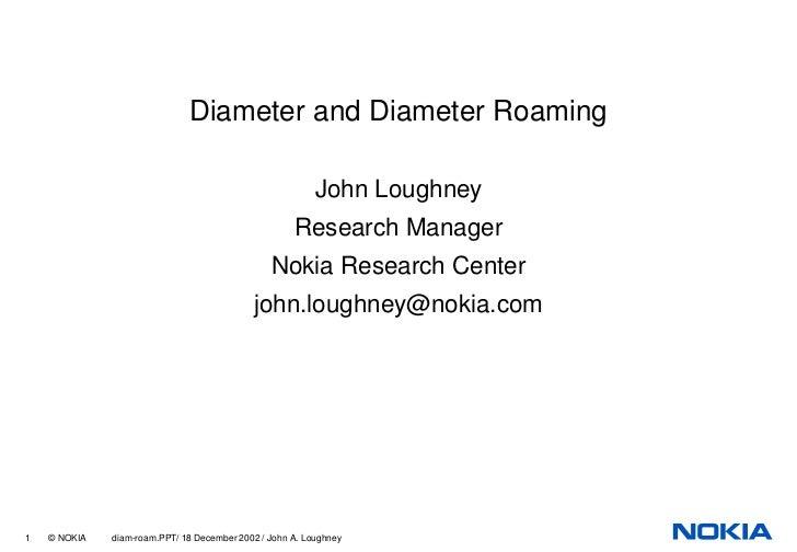 Diameter and Diameter Roaming