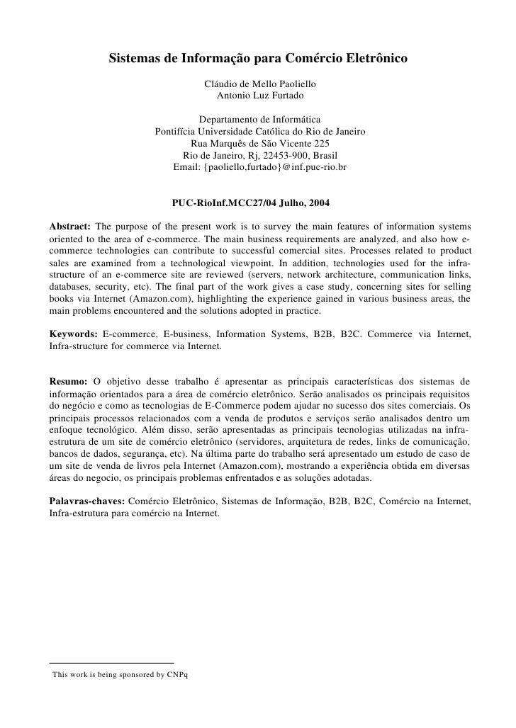 Sistemas de Informação para Comércio Eletrônico                                       Cláudio de Mello Paoliello          ...