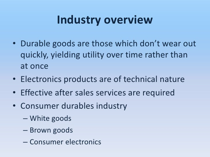 white goods industry analysis 8_ investing into slow moving consumer goods case study – white goods industry managing the supply chain risks has become a leading key success factor in the global white goods industry source: goetzpartners analysis, datamonitor challenges and selected trends changing industry dynamics • main trend is shift.