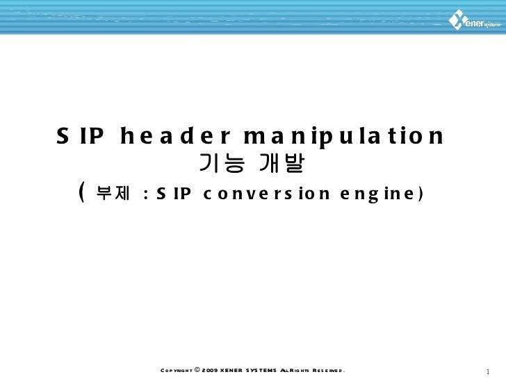 Sip header manipulation