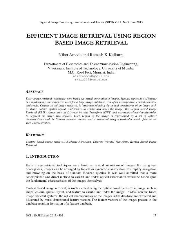 EFFICIENT IMAGE RETRIEVAL USING REGION BASED IMAGE RETRIEVAL