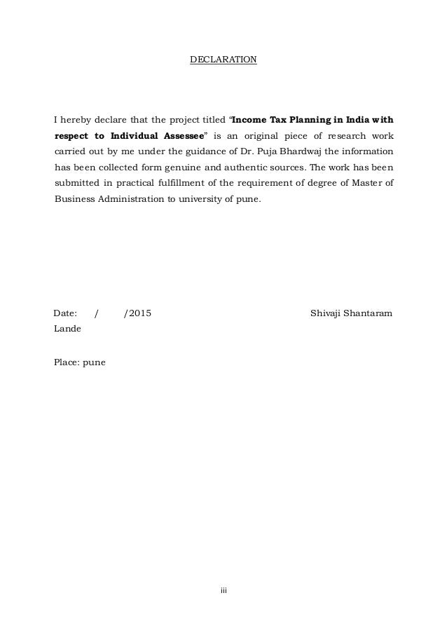income tax planning (University Pune.) by shivaji lande