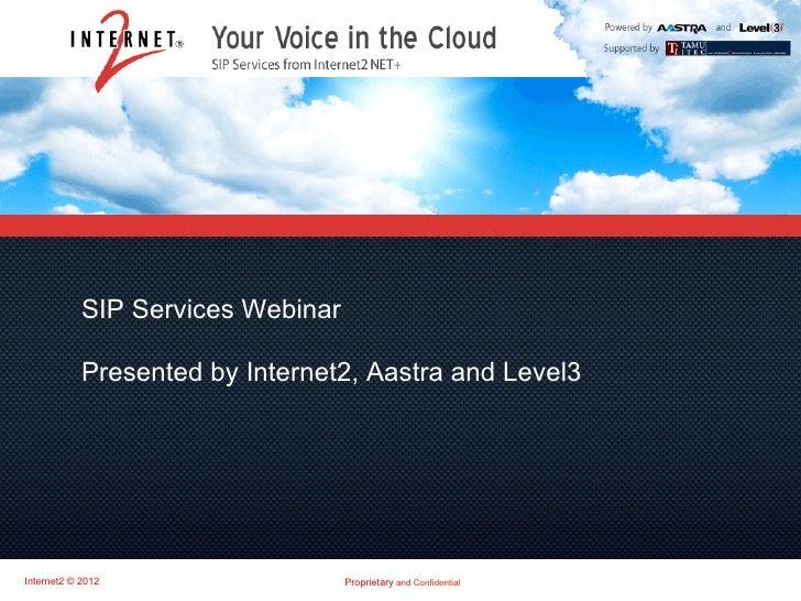 Internet2 NET+ SIP Services Webinar