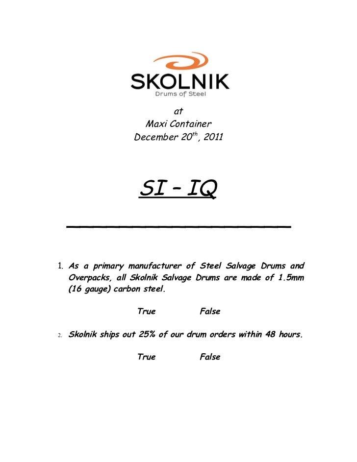 SI - IQ Question Presentation dec2011