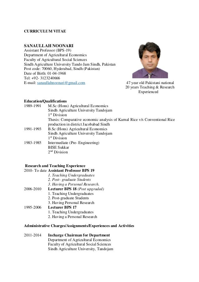 Resume cv template pdf resumes cv for Economics professor resume