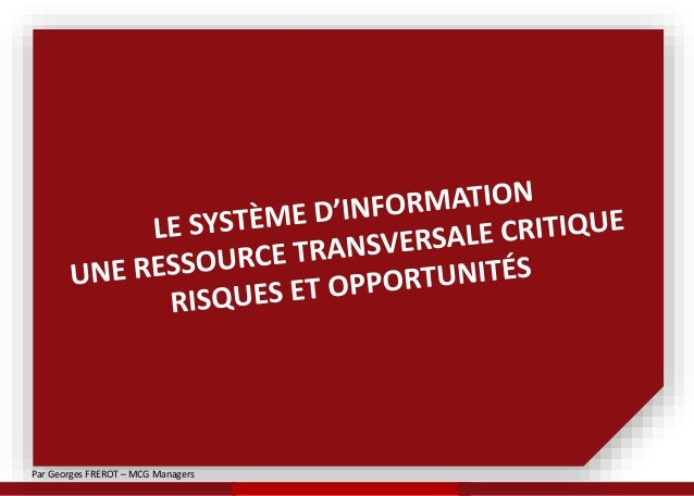 Par Georges FREROT – MCG Managers