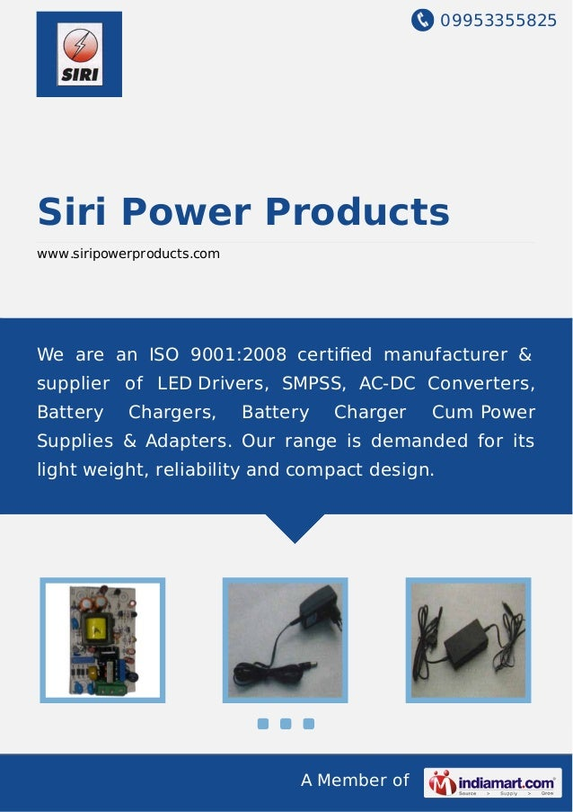 09953355825 A Member of Siri Power Products www.siripowerproducts.com We are an ISO 9001:2008 certified manufacturer & supp...