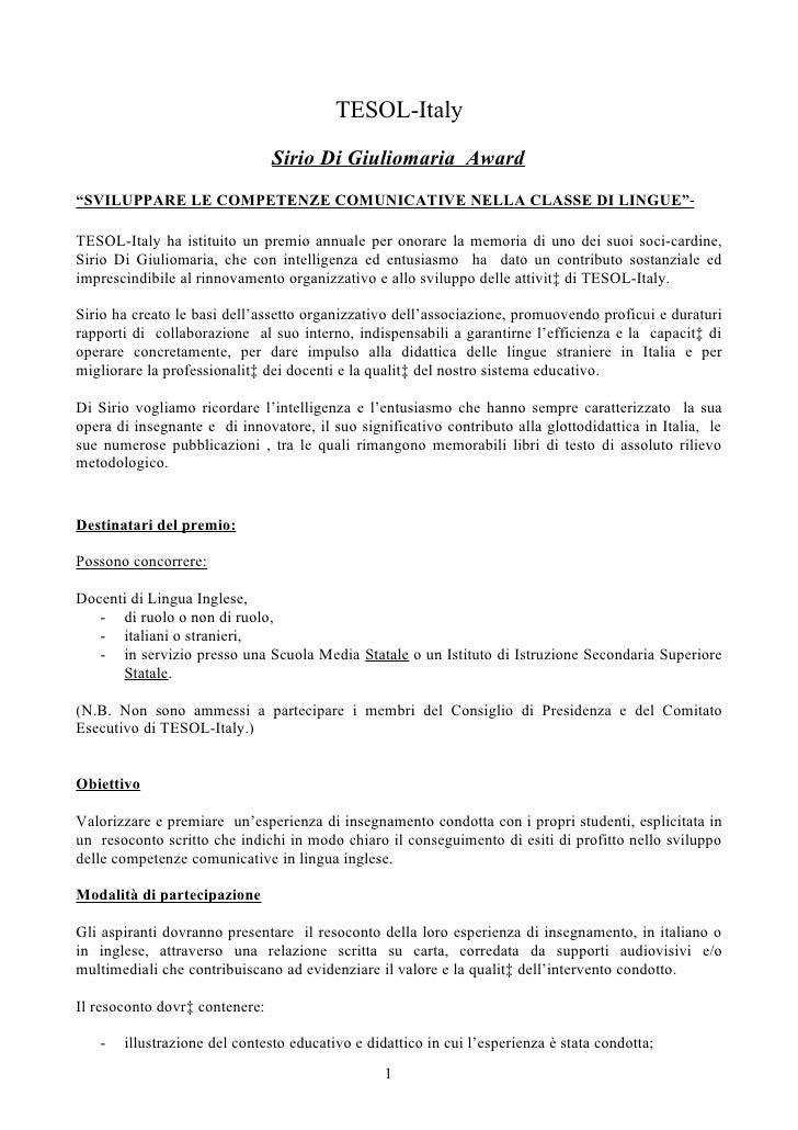 """TESOL-Italy                                 Sirio Di Giuliomaria Award """"SVILUPPARE LE COMPETENZE COMUNICATIVE NELLA CLASSE..."""