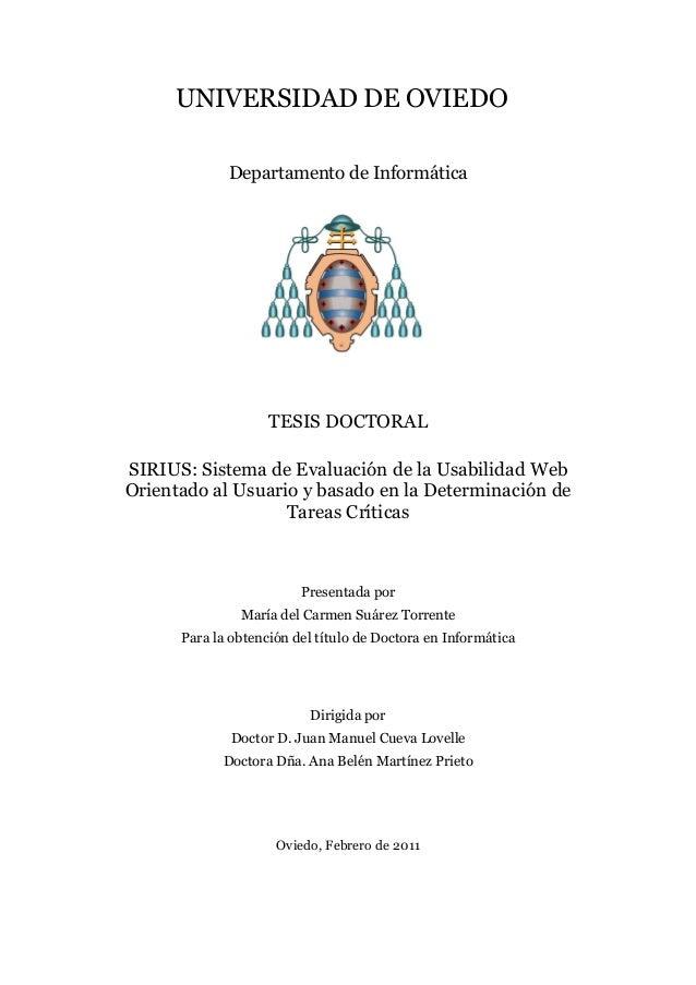 UNIVERSIDAD DE OVIEDO Departamento de Informática  TESIS DOCTORAL SIRIUS: Sistema de Evaluación de la Usabilidad Web Orien...