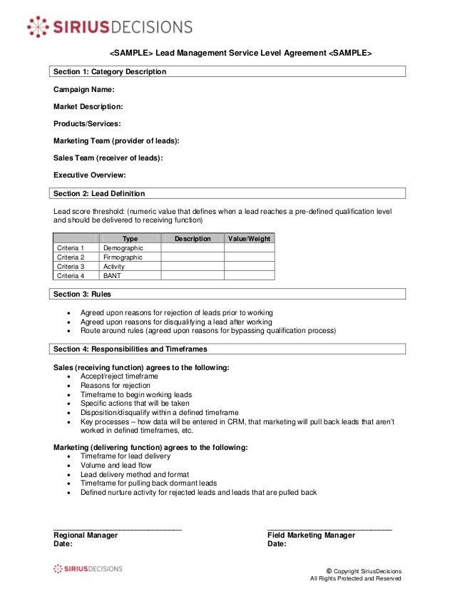 ServiceLevel Agreement Template  Get Free Sample
