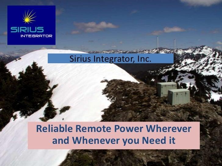 Sirius Integrator Presentation 11 25 11