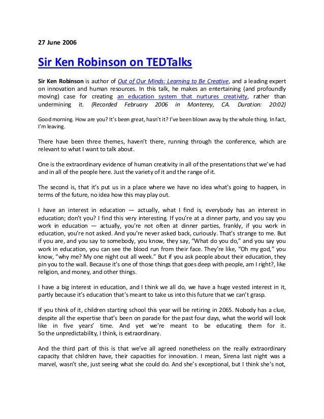 Sir Ken Robinson on TED Talks