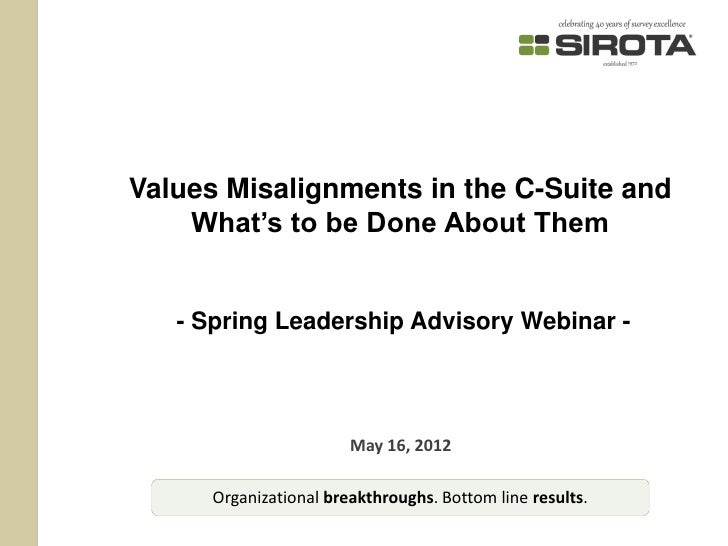 Values Misalignments in the C-Suite and    What's to be Done About Them   - Spring Leadership Advisory Webinar -          ...