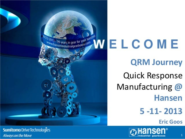 WELCOME QRM Journey Quick Response Manufacturing @ Hansen 5 -11- 2013 Eric Goos 1