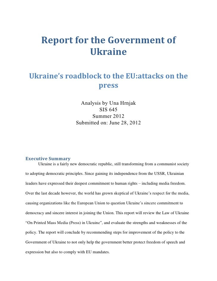 Sis 645 report for the government of ukraine final hrnjak