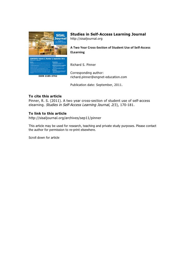 SiSAL Journal: A Two Year Cross-Section of Student Use of Self-Access eLearning - R Pinner