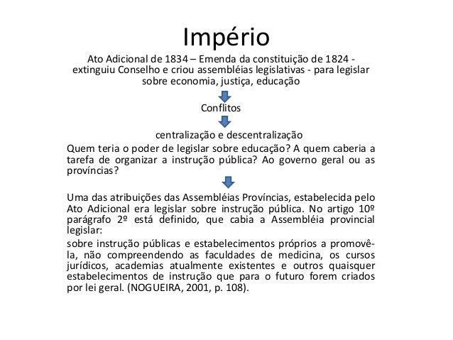 Império  Ato Adicional de 1834 – Emenda da constituição de 1824 -  extinguiu Conselho e criou assembléias legislativas - p...
