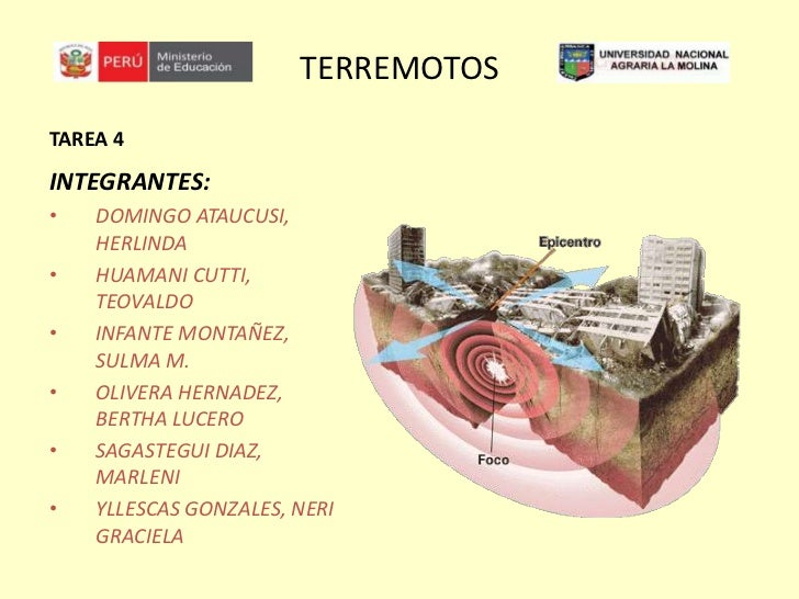 TERREMOTOS<br />TAREA 4<br />INTEGRANTES:<br /><ul><li>DOMINGO ATAUCUSI, HERLINDA