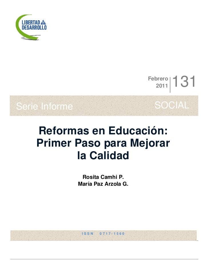 Reformas en Educación: Primer Paso para Mejorar la Calidad