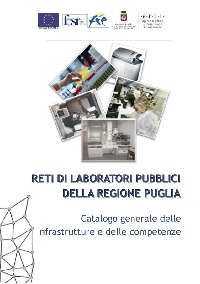 RETI DI LABORATORI PUBBLICI      DELLA REGIONE PUGLIA            Catalogo generale delle infrastrutture e delle competenze