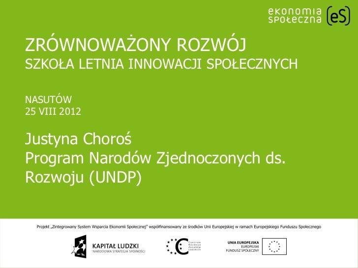"""SISS Justyna Choroś """"Zrównoważony rozwój - główne problemy"""" / """"Sustainable development - key issues"""""""