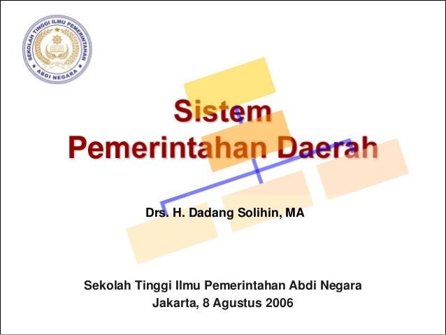 Sistem Pemerintahan Daerah