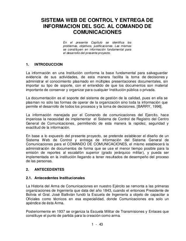 SISTEMA WEB DE CONTROL Y ENTREGA DE          INFORMACION DEL SGC. AL COMANDO DE                   COMUNICACIONES          ...