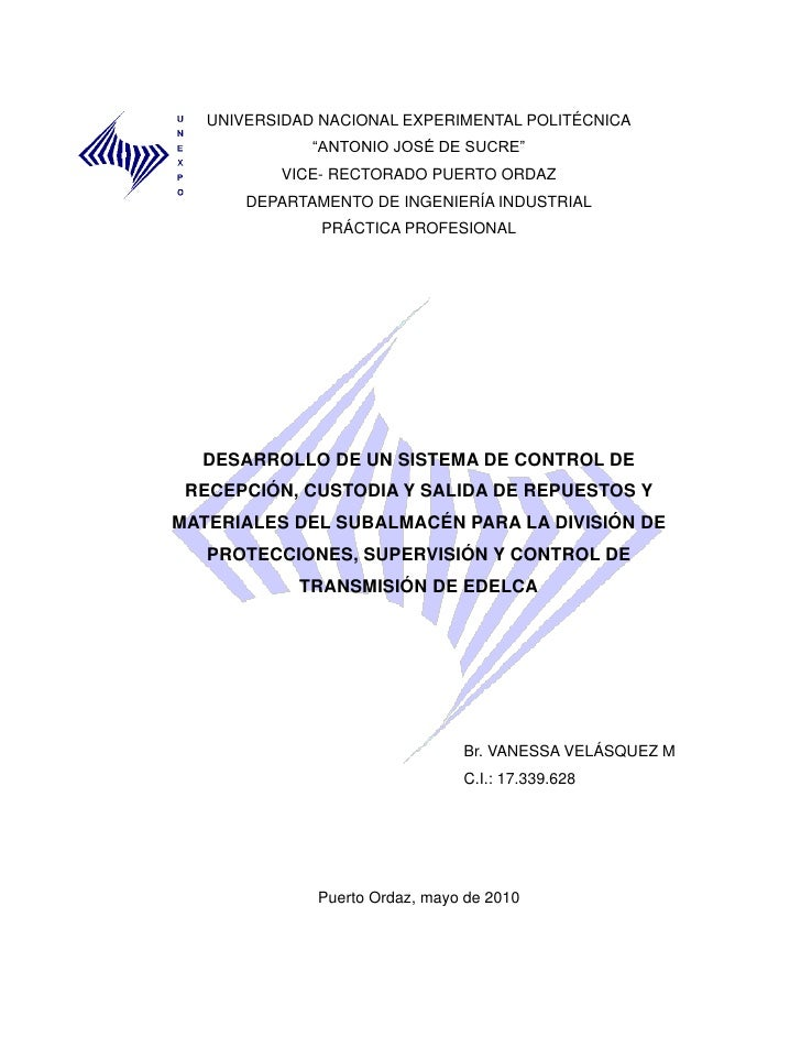 """UNIVERSIDAD NACIONAL EXPERIMENTAL POLITÉCNICA              """"ANTONIO JOSÉ DE SUCRE""""          VICE- RECTORADO PUERTO ORDAZ  ..."""