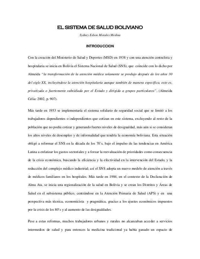 EL SISTEMA DE SALUD BOLIVIANO                                     Sydney Edson Morales Medina                             ...
