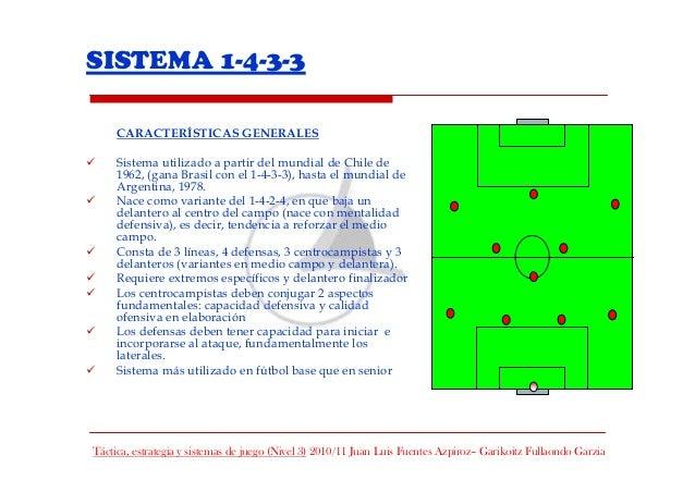 SISTEMA 1-4-3-3     CARACTERÍSTICAS GENERALES     Sistema utilizado a partir del mundial de Chile de     1962, (gana Brasi...