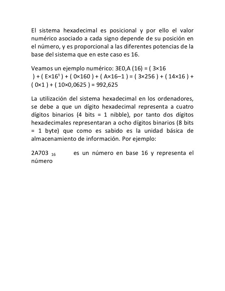 Sistema binario decimal e hexadecimal