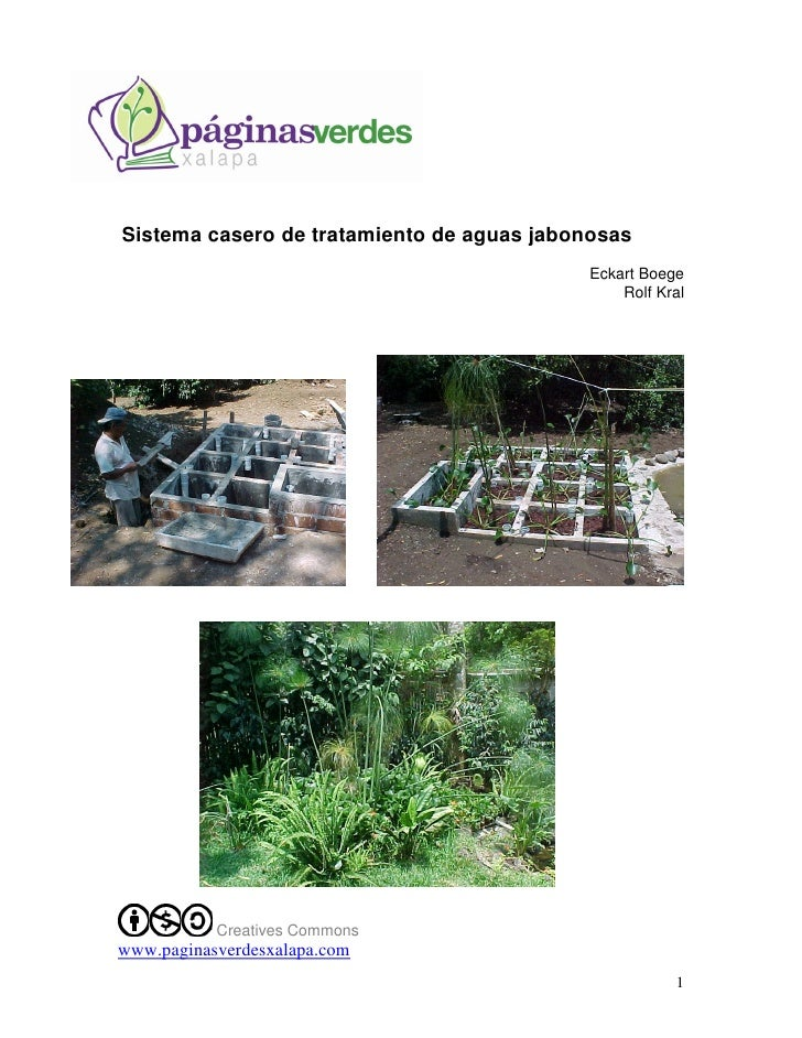 Sistema casero de tratamiento de aguas jabonosas                                            Eckart Boege                  ...