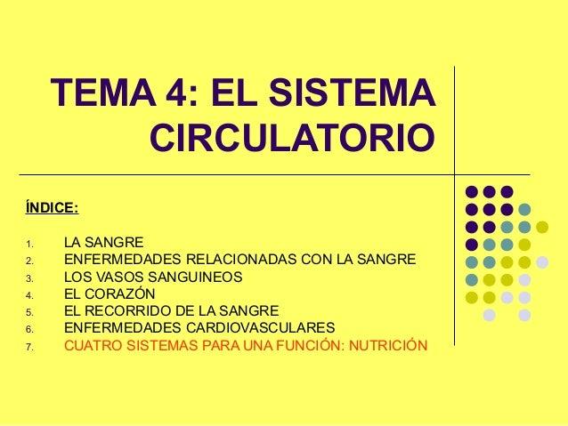TEMA 4: EL SISTEMA CIRCULATORIO ÍNDICE: 1. LA SANGRE 2. ENFERMEDADES RELACIONADAS CON LA SANGRE 3. LOS VASOS SANGUINEOS 4....