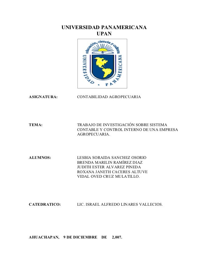 Sistema Contable Y Control Interno De Una Empresa Agropecuaria.