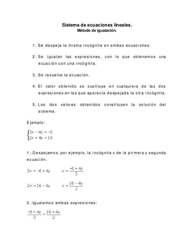 Sistema de ecuaciones lineales por el método de igualación