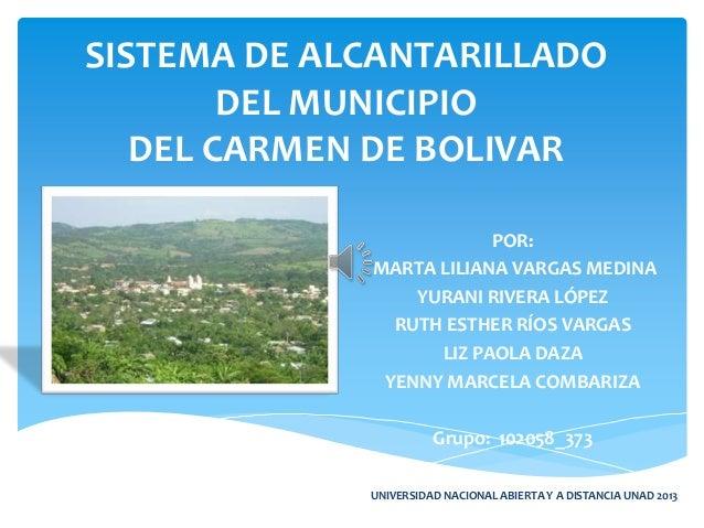 SISTEMA DE ALCANTARILLADODEL MUNICIPIODEL CARMEN DE BOLIVARPOR:MARTA LILIANA VARGAS MEDINAYURANI RIVERA LÓPEZRUTH ESTHER R...