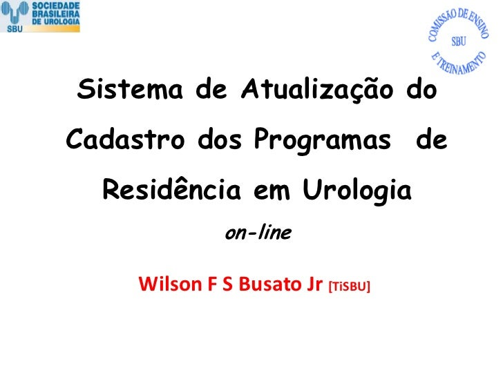 Sistema de Atualização do Cadastro dos Programas de Residência em Urologia